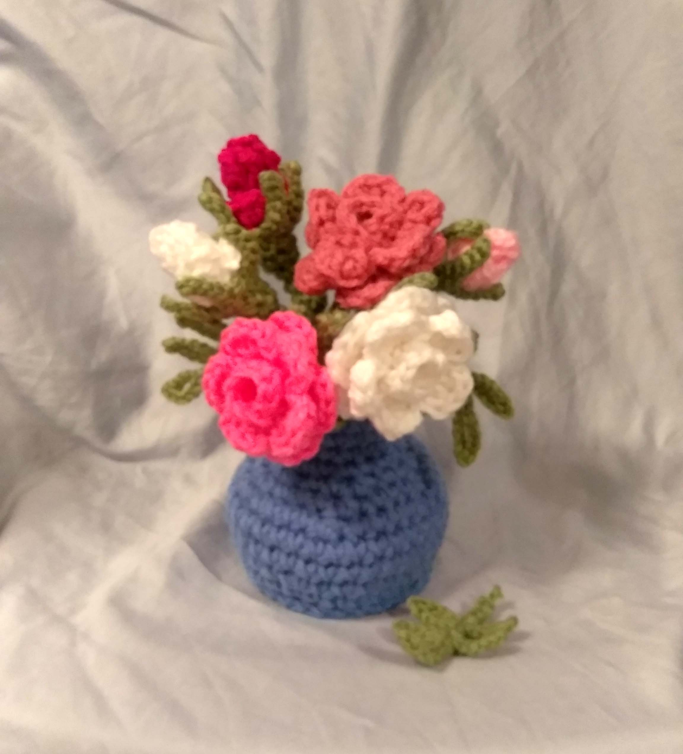 Roses In A Blue Vase Crochet Pattern Pdf Usa Terms Etsy