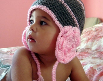 PDF Instant Download Crochet Pattern No 050 Flower Earflap All sizes baby, toddler, child, adult