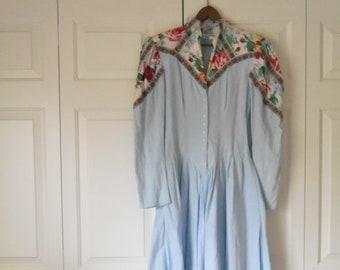 Vintage 80's cotton denim appliqued Dress