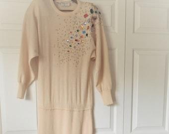ON SALE........Vintage embellished 80's lambs wool Knit Dress
