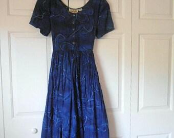 Vintage India cotton gauze Navy blue maxi Dress