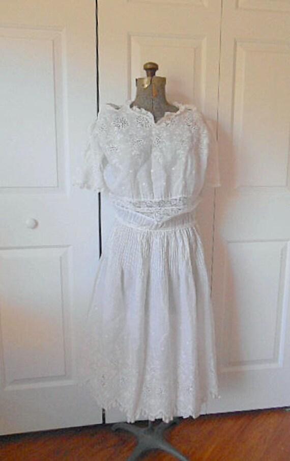 Vintage antique rare find White cotton Dress