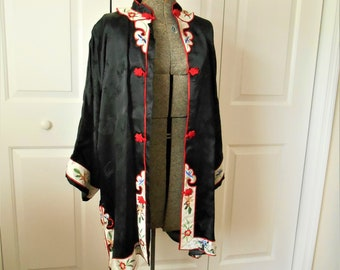 Vintage Asian SILK Jacket with distressed Floral Trim