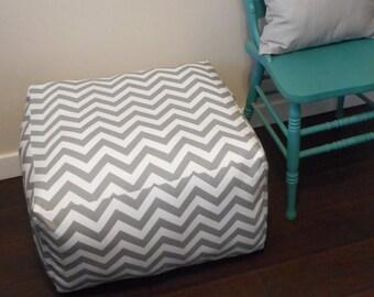 Square Chevron Pouf - Large Floor cushion - Square Ottoman - Meditation Pillow. Box cushion - Pouf - Dog Bed