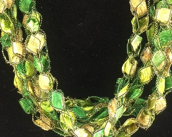 LONG Green Mix Necklace Italian Yarn