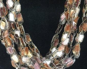 LONG Brown Mix Necklace Italian Yarn