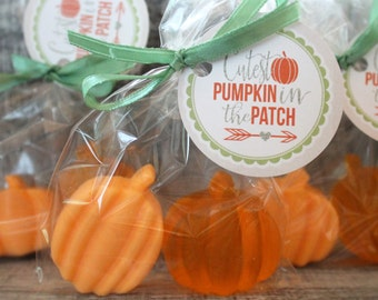 PUMPKIN Soap Party Favors:  Bridal Shower, Wedding Favor, Baby Shower Favors, Fall Favors, Birthday Favors, Fall Wedding, Halloween Favors