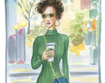 Fashion Poster, Fall Fashion Print, Green Sweater Dress Sketch, Chloe Handbag, Coffee Art, Fashion Illustration, Watercolor, Gift for her