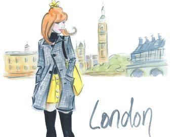 London Art, Fashion Wall Art, Fashion Illustration, Watercolor London City Art, Girly Art, Dressing Room Art, Fashion Poster, Gift For Her
