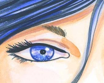 The Eyes Have It Blue - Fashion Illustration Print