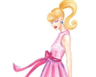 Pink Gingham - Fashion Illustration Print
