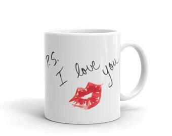 Cute Coffee Mug, Lipstick Lips Mug, I Love You Mug, Unique Mug, Ceramic Mug, Tea Mug, Gift for Her, Gift for Him