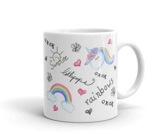 Sunshine, lollipops, rainbows and unicorn coffee mug, cute coffee mug, unique mug, ceramic mug, gift for her