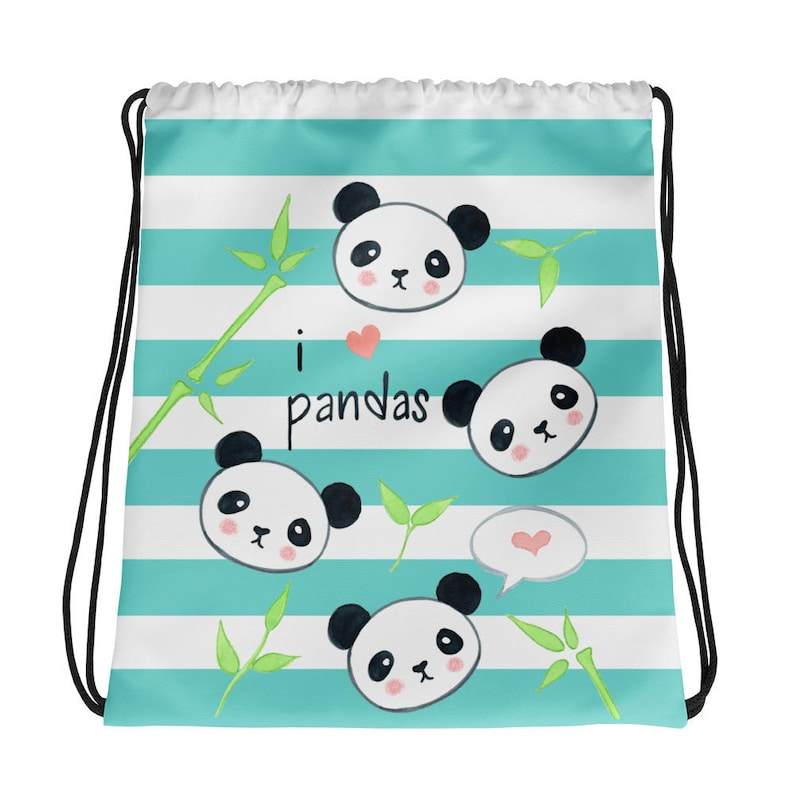 40e3caa9d I Love Pandas Drawstring bag Panda Teal Striped Tote bag   Etsy