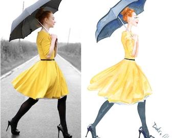 Custom Fashion Illustration, Custom Portrait for Blog / Logo / Headers / Business Cards, Gift for her