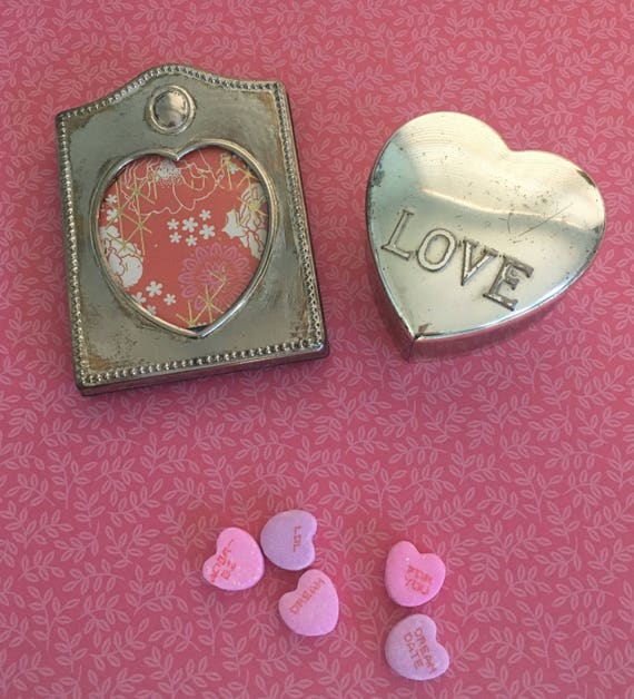 Silver Plate Heart Frames And Love Jewel Trinket Box Set Etsy