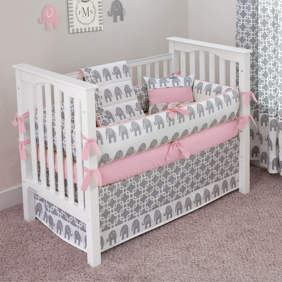 Hand Made Pink Grey Elephant Crib Set by SofiaBedding