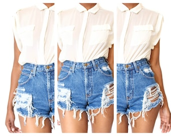 8c5c114248 Destroyed Ripped Distress Custom Made High Waist Shorts All Sizes
