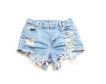 90835b58dd7 All Sizes Destroyed Ripped Trashy Distress Daisy Dukes Custom Made High  Waist Short Plus Sizes