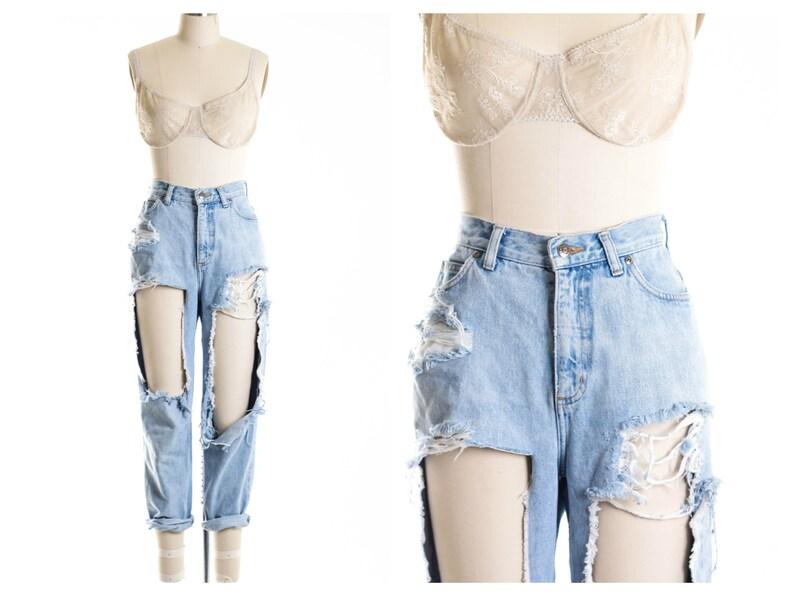 9525d4ba225 All SIZES High Waist Custom Made Destroyed Boyfriend Jeans