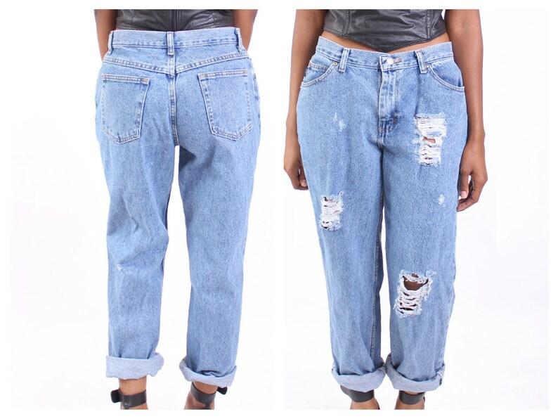 ecbf0105677 All SIZES High Waist Destroyed Boyfriend Jeans Plus Sizes