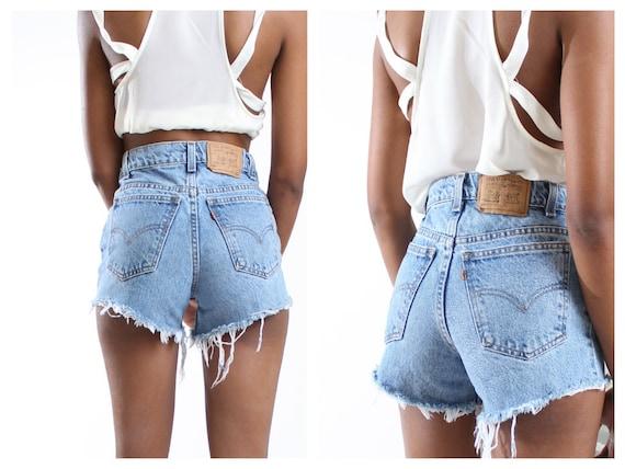 Vintage Denim Shorts Size 24 Waist Vintage High Waist Cut off Shorts Vintage Womens High Waist Shorts Vintage High Waisted Shorts