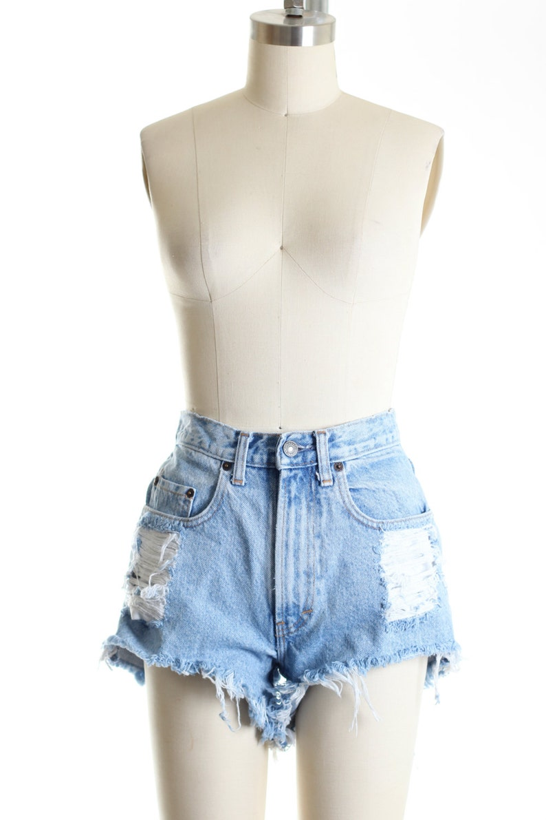 Custom Made Destroyed Dirty Ripped Distress  Daisy Dukes  High Waist Shorts S M L
