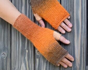 Fingerless Mittens: Pumpkin Wrist Warmers For Women Independence Day