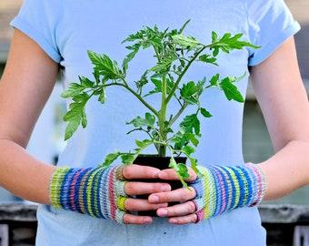 Fingerless Gloves: Best Sellers Multicolor Women's Fingerless Gloves, Meadow Stripes - Ready To Ship