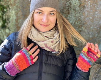 Fingerless Gloves: Best Sellers Multicolor Women's Fingerless Gloves, Mexicala Stripes - Ready To Ship