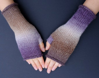 Fingerless Mittens: Hand Knit Wrist Warmers For Her Independence Day