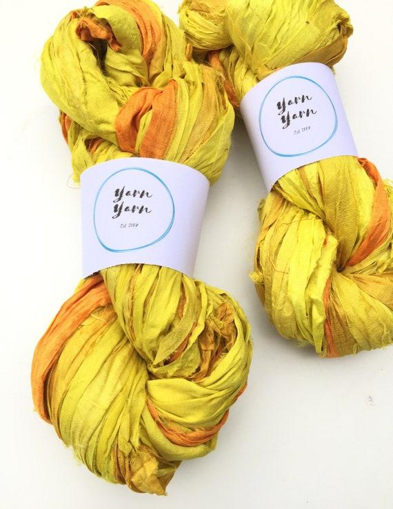 200g Recycled Sari Silk  Blue  Handmade Ribbon Sale Crocheting Jewelrery