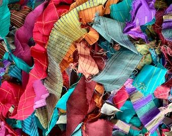 Sari silk ribbon loose bundle, 100g, craft ribbon, multicoloured strips of pure silk.