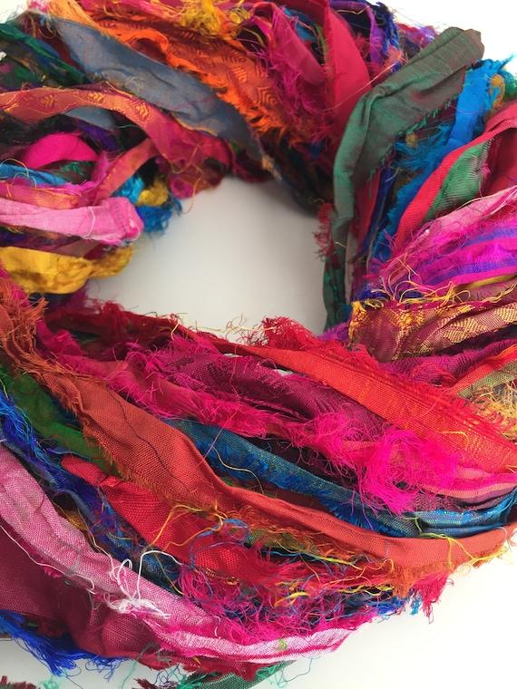 Sari silk ribbon, 50g, ethical eyelash ribbon yarn, handmade ribbon, frayed  ribbon, textured brightly coloured yarn