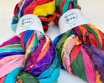 Sari Silk Ribbon, 100g, mixed colour, ethical yarn, ribbon yarn, craft ribbon, knitting ribbon, crochet, craft ribbon