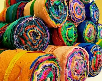Silk rolls, pure silk fabric ribbon roll, sari silk ribbon, ribbon, quilting, embroidery and textile art.