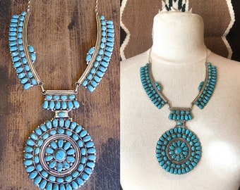 JULIANS WILLIAMS JW Silver & Turquoise Cluster Necklace | Navajo Native American Large Petit Point Pendant | Southwestern Indian Jewelry