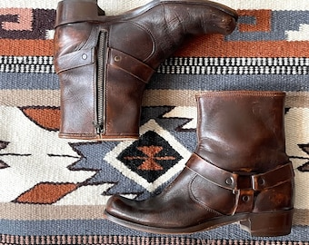 MOTO BOOTS Vintage 70s Brown Leather Buckled Boots | 1970s Motorcycle Bootie | 60s 1960s, Biker Hippie, Frye Style | Mens Size 9 1/2 to 10