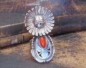 BENNIE RATION Sun Face Silver and Coral Ring Navajo Kachina Doll, Native American Southwestern Jewelry Large Statement Ring Size 7 3 4