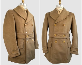 MILITARY JEEP MACKINAW The Hub Schneider's Vintage 30s 40s Military Jacket | 1930s 1940s Army Wool Belted Pea Coat | WWii | Size Mens Small