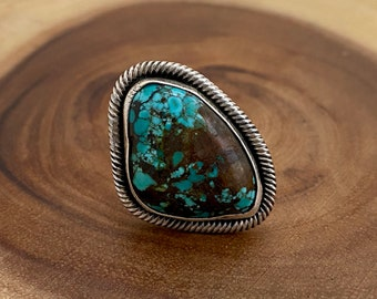 TWISTED UP Chimney Butte Sterling Silver & Turquoise Ring | Native American Navajo Style Jewelry | Southwestern,  | Size 6 1/4