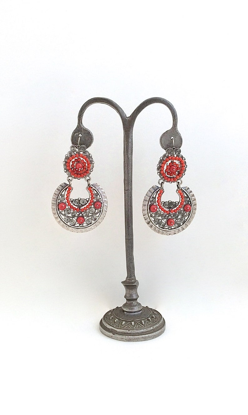 c528c6e82157 FRIDA KAHLO Style Mexican Silver and Coral Earrings Large
