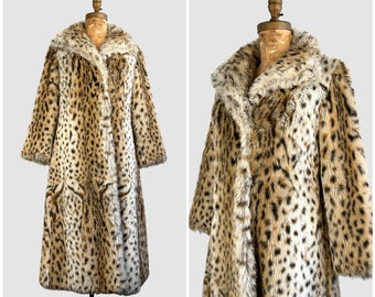 HELLO KITTY 70s Vintage St. Moritz Faux Leopard Fur Coat | 1970s Plush Animal Print with Satin Lining Overcoat | 60s Outerwear | Size Medium