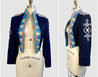 MARCHING ORDERS Vintage 60s Blue Band Jacket | 1960s Stanbury Uniforms | 70s 1970s Sgt Pepper Style Military Burning Man Circus | Size Small