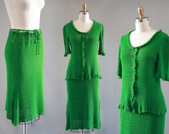 THINK GREEN Vintage 30s Blouse and Skirt   1930's Open Knit Crochet 2 Piece   Day Dress, Sweater Set, Gatsby Picnic, Boho, Deco   Sz Medium