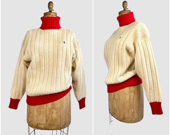 RALPH LAUREN Vintage 90s Pullover Sweater | 1990s Chunky Cable Knit Ribbed Turtleneck | 2000s Designer Ski Polo Turtle Neck | Size Medium