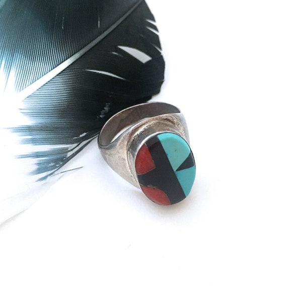 Men/'s Silver Turquoise Coral Gemstone MOP /& Onyx Southwestern Ring Size 7