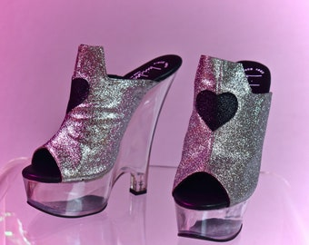 65b92172c348 90 s Vintage Luichiny Glitter heart Platform Wedge Slide Sandal Mules with  Clear Lucite Heel and Platform New in box    6.5 - 7
