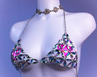 8e02ceafac Rainbow Holographic Crystal Gem Chain Bra Halter Top