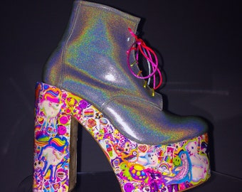 668d1bd6556004 CUSTOM    90 s Iconic Lisa Frank Kawaii Holographic Glitter Hand Made  Rainbow Platform Chunk High Heel Wedge Ankle Boots